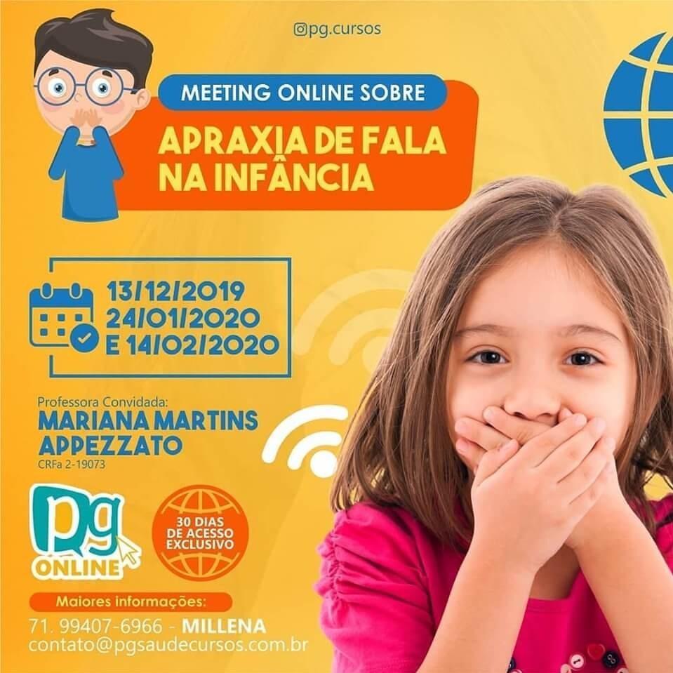Meeting online sobre APRAXIA DE FALA NA INFÂNCIA